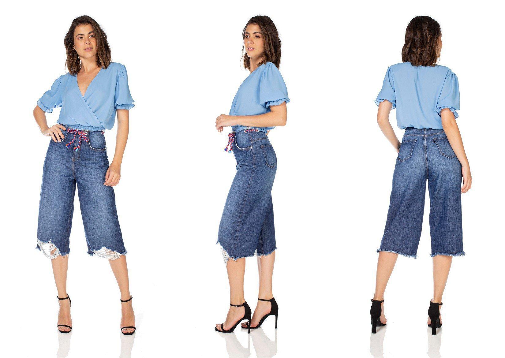 dz3233 calca jeans feminina pantacourt com cordao colorido denim zero tripla