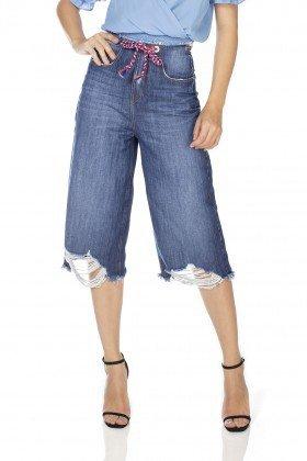 dz3233 calca jeans feminina pantacourt com cordao colorido denim zero frente prox