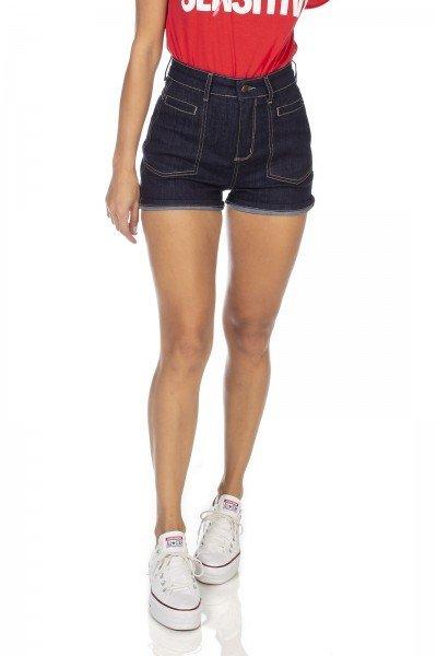 dz6380 shorts jeans feminino pin up bolso embutido denim zero frente prox