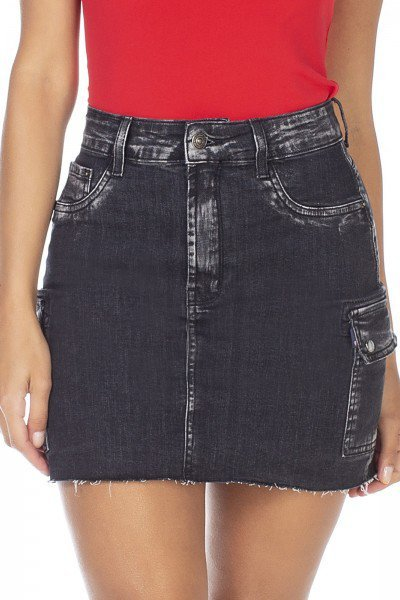 dz7119 saia jeans feminina tubinho bolso lateral denim zero frente detalhe