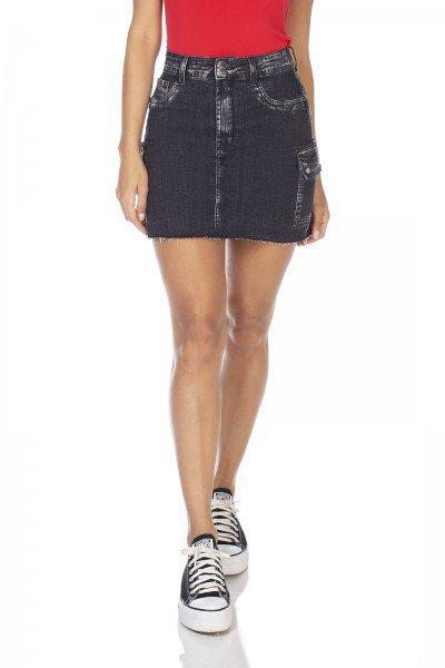 dz7119 saia jeans feminina tubinho bolso lateral denim zero frente prox