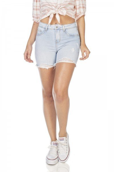 dz4034 bermuda jeans feminina slim com puidos denim zero frente prox