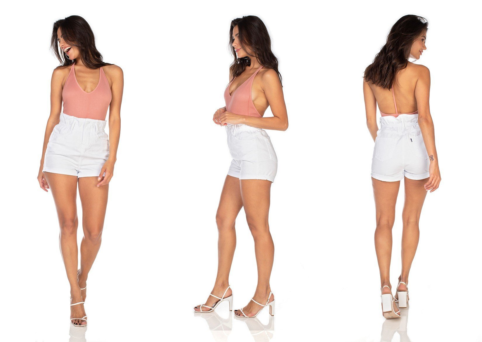 dz6363 shorts jeans feminino setentinha com babado denim zero tripla