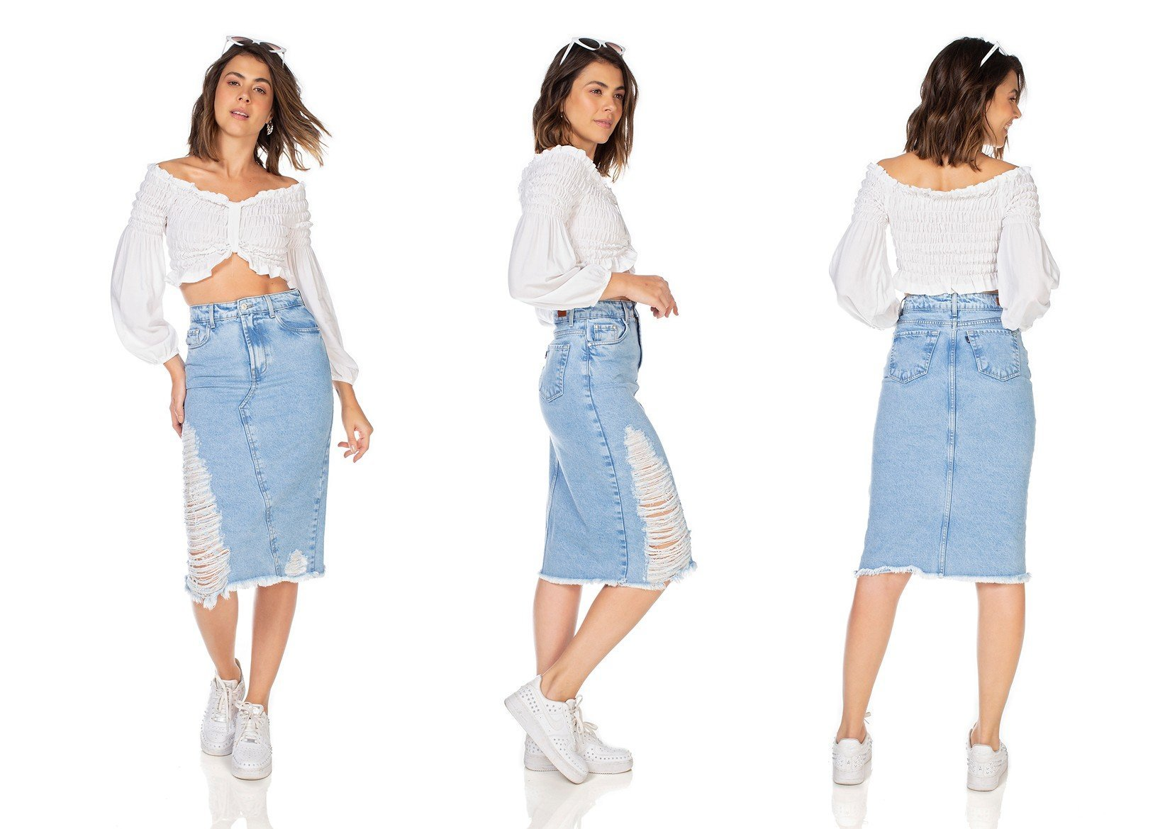 dz7118 saia jeans feminina midi recorte frontal denim zero tripla