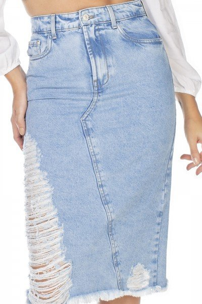 dz7118 saia jeans feminina midi recorte frontal denim zero frente detalhe