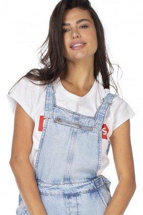 dz8046 jardineira jeans feminina com punho denim zero frente detalhe