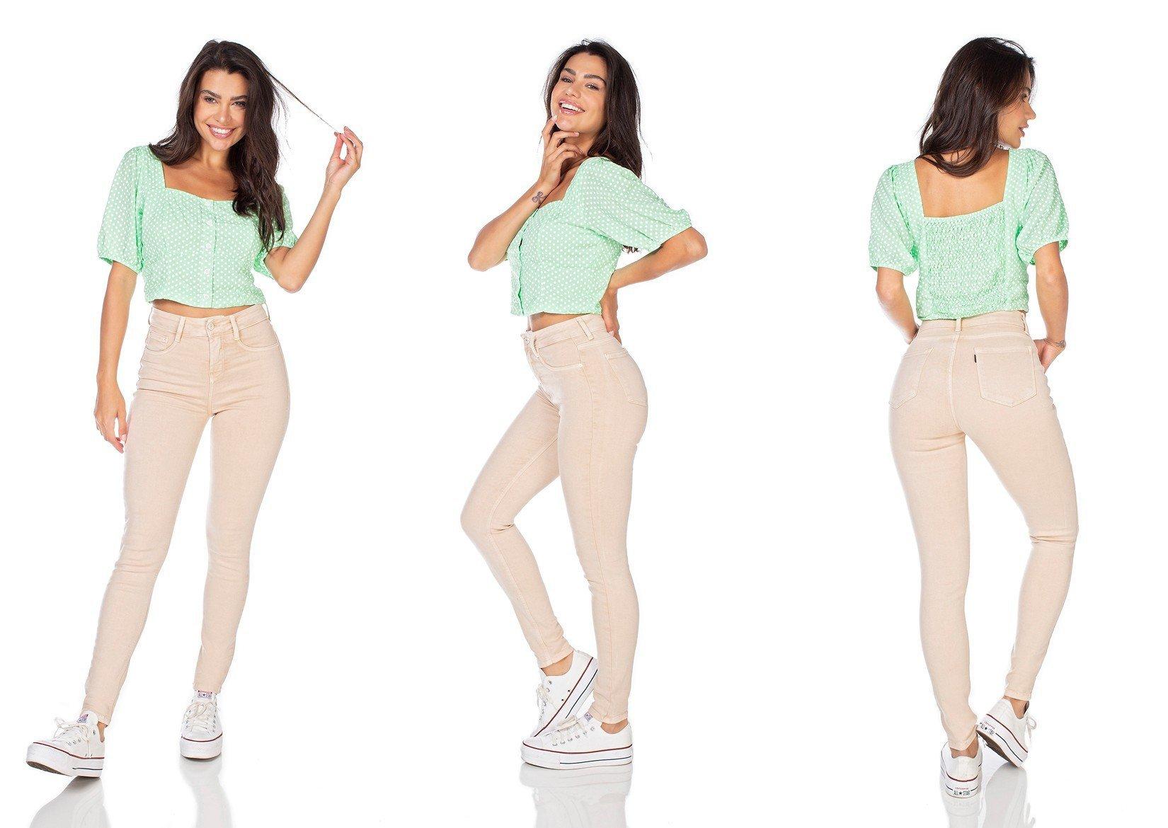 dz3125 calca jeans feminina skinny media cigarrete honey denim zero tripla