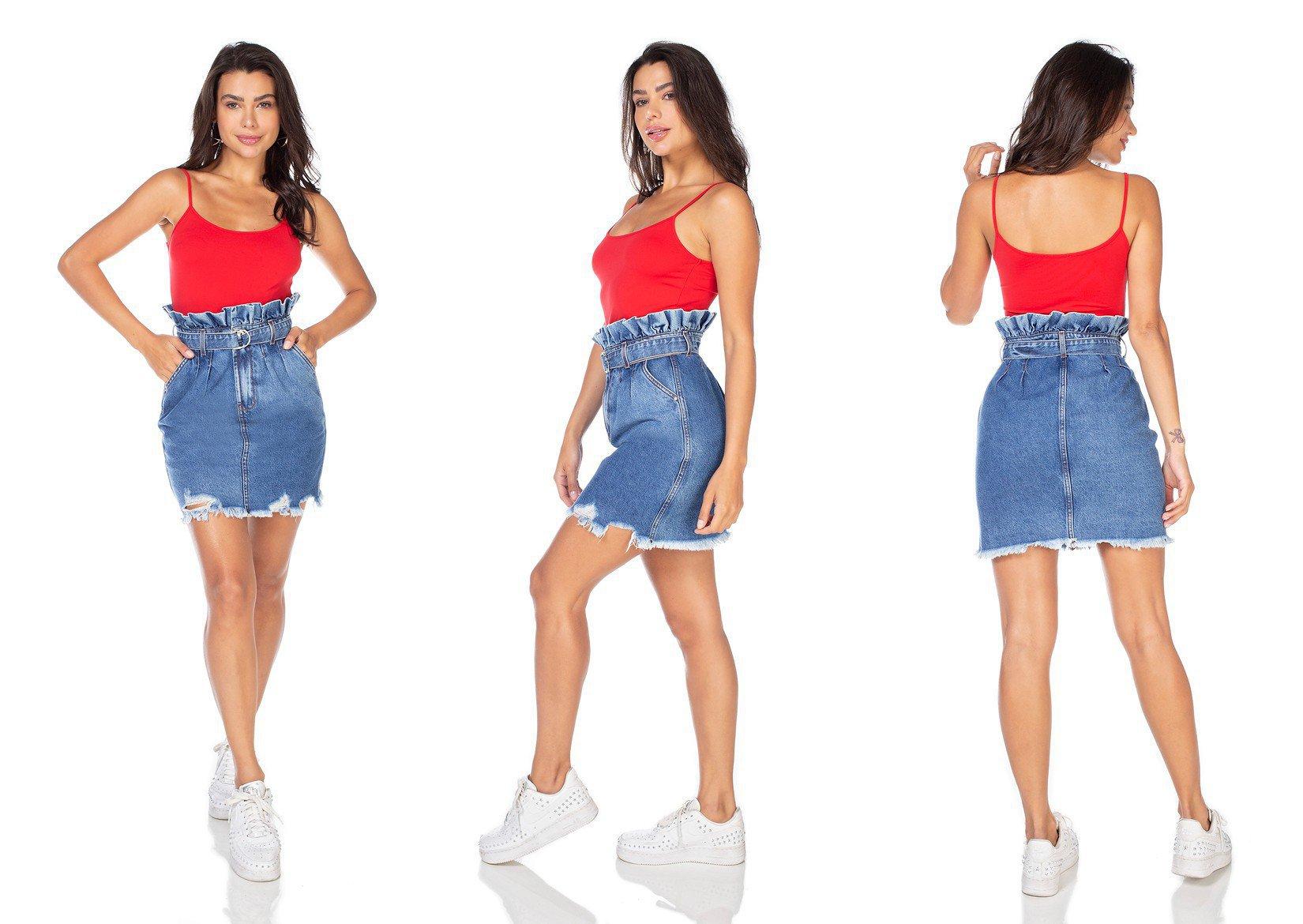 dz7113 saia jeans feminina clochard barra destroyed denim zero tripla