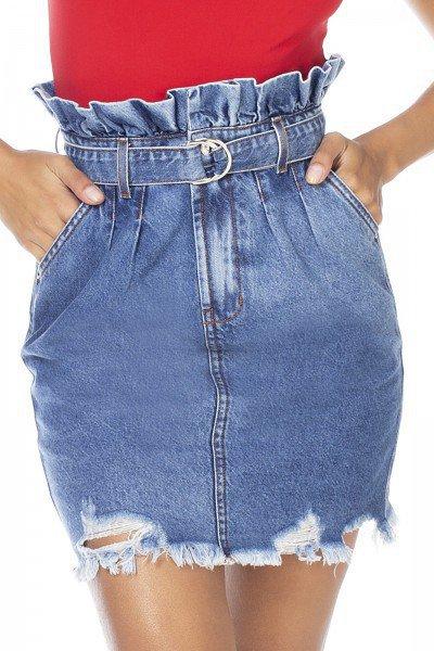 dz7113 saia jeans feminina clochard barra destroyed denim zero frente detalhe