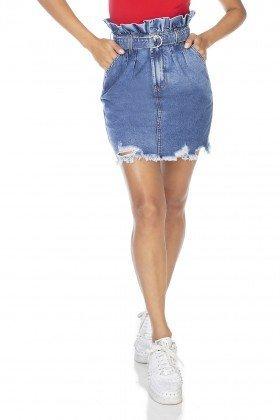 dz7113 saia jeans feminina clochard barra destroyed denim zero frente prox