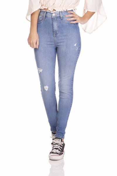 dz3241 calca jeans feminina skinny hot pants cigarrete cos desfiado denim zero frente prox