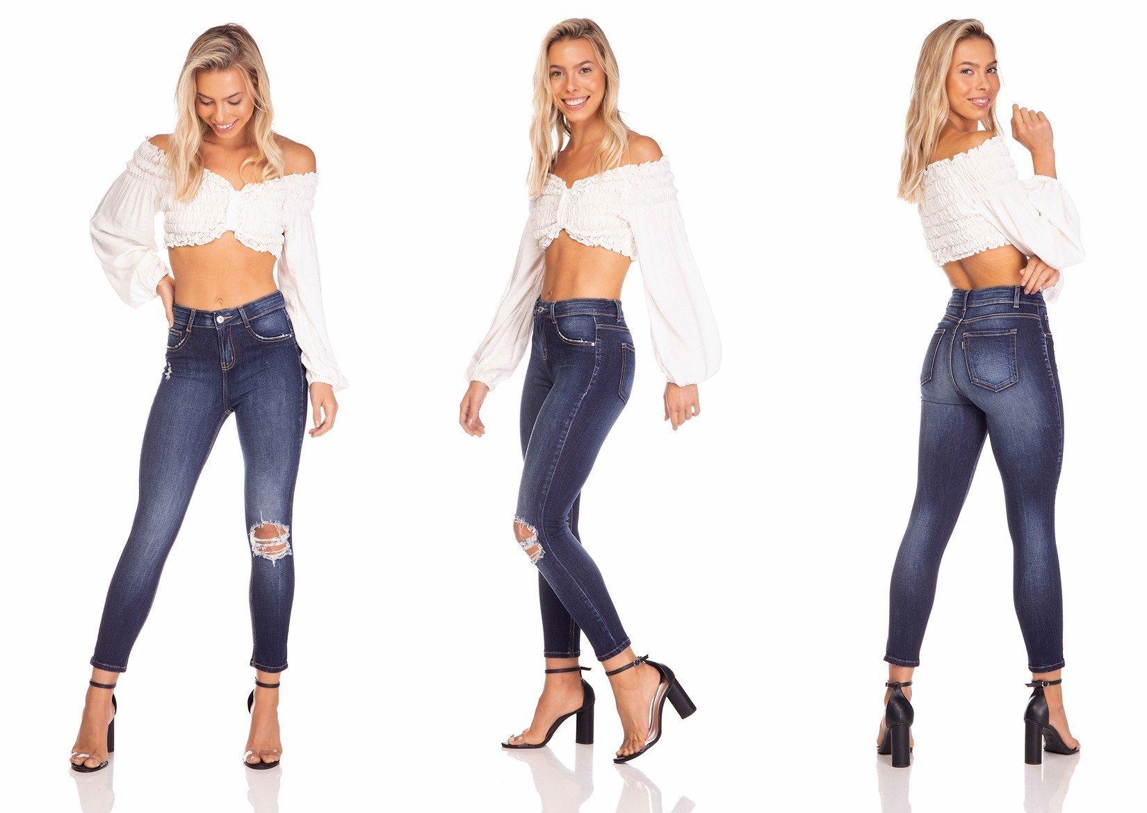 dz3236 calca jeans feminina skinny media cropped rasgo no joelho denim zero tripla