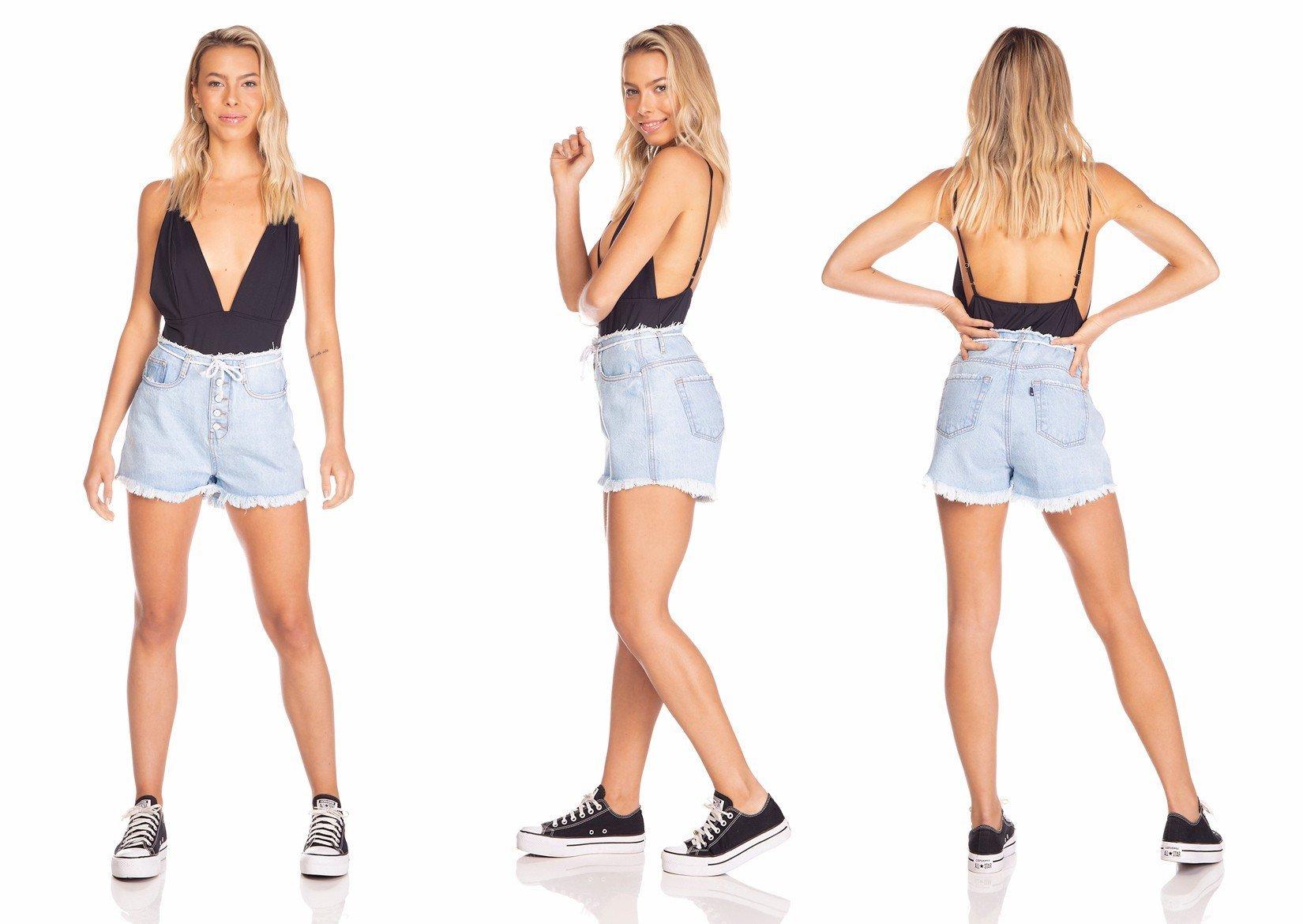 dz6360 shorts jeans feminino setentinha com cordao denim zero tripla