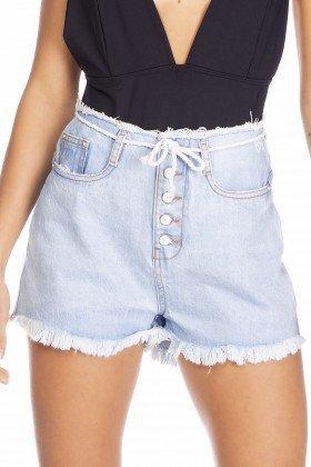 dz6360 shorts jeans feminino setentinha com cordao denim zero frente detalhe