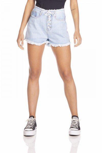 dz6360 shorts jeans feminino setentinha com cordao denim zero frente prox