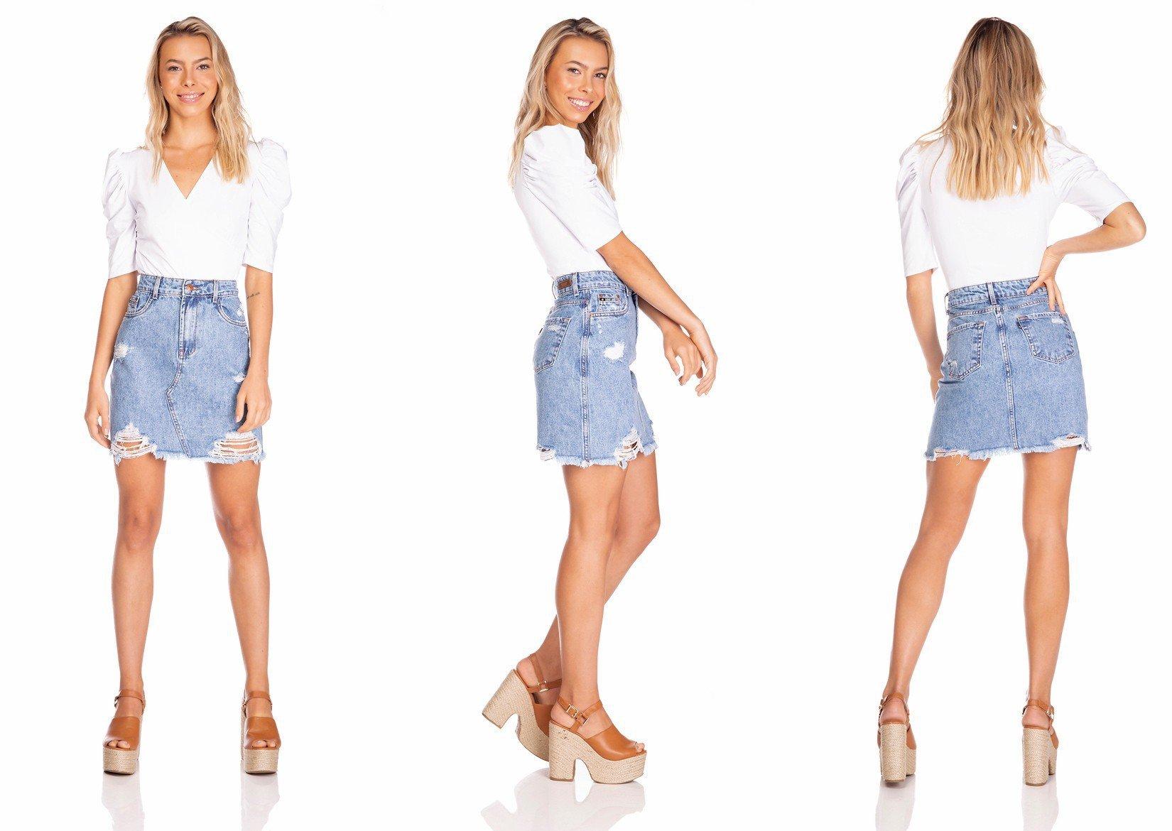 dz7126 saia jeans feminina regular destroyed denim zero tripla