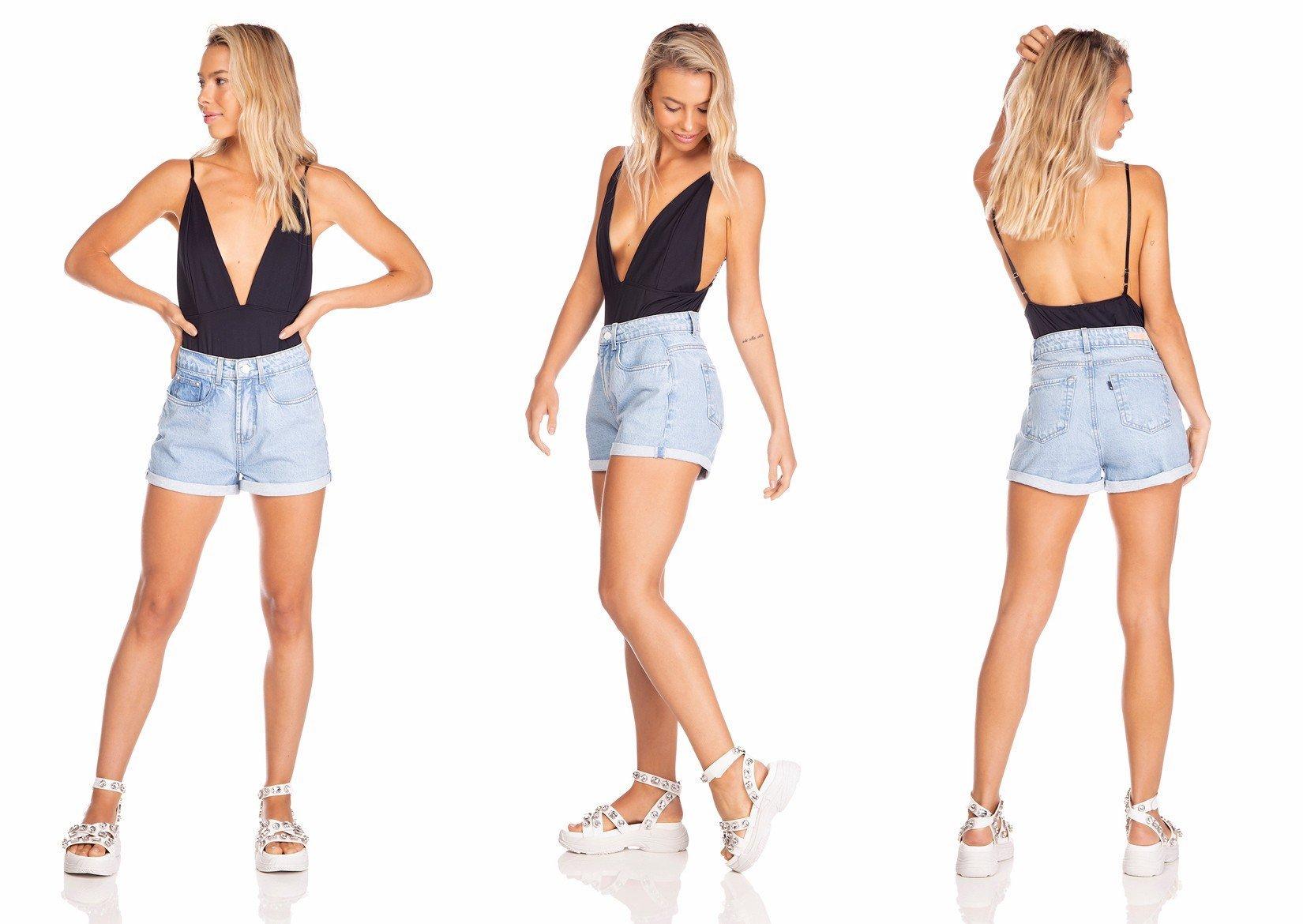 dz6383 shorts jeans feminino setentinha barra dobrada denim zero tripla