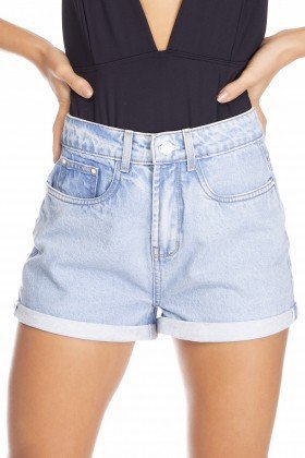 dz6383 shorts jeans feminino setentinha barra dobrada denim zero frente detalhe