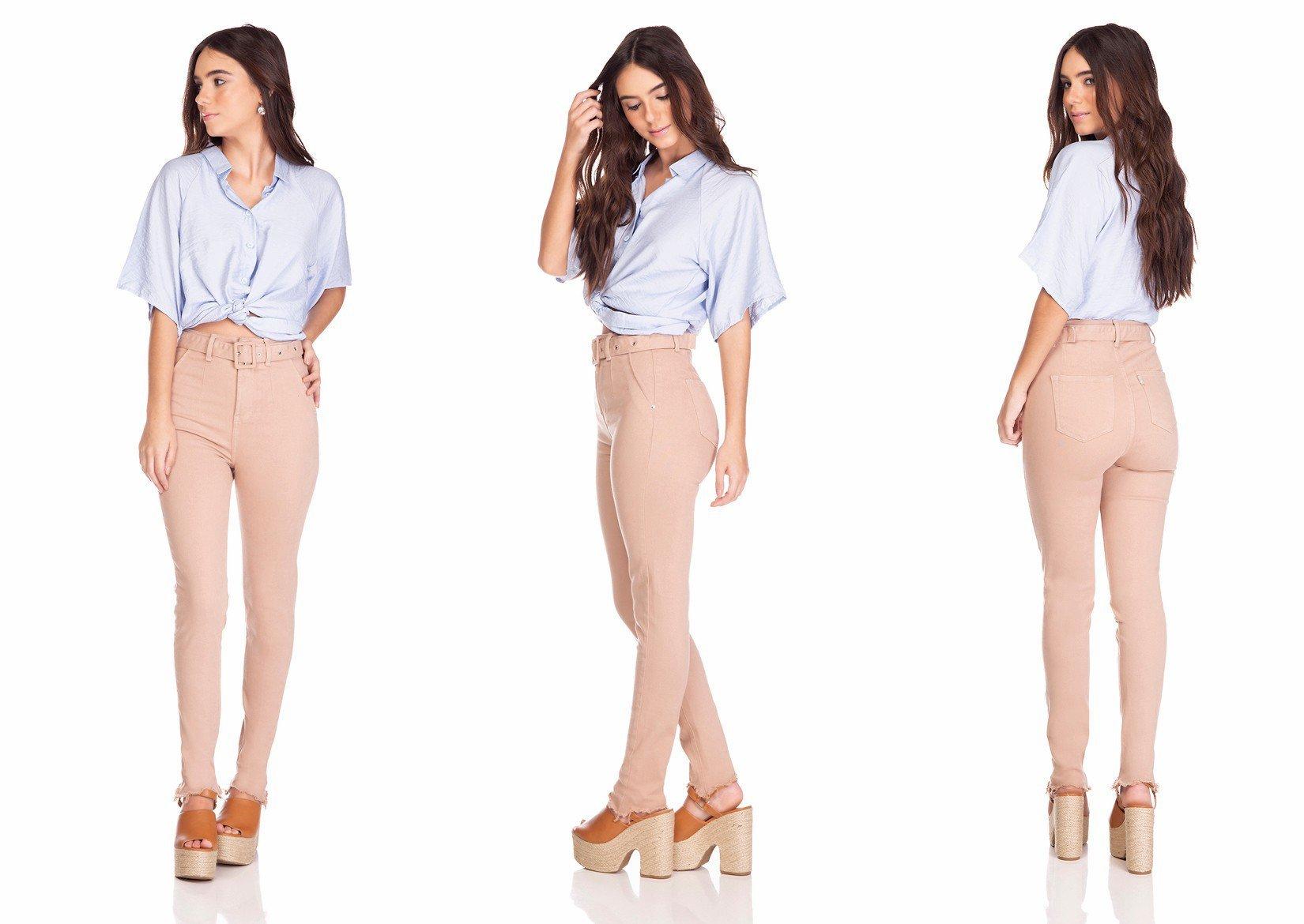 dz3257 calca jeans feminina skinny media cigarrete com cinto cappuccino denim zero tripla