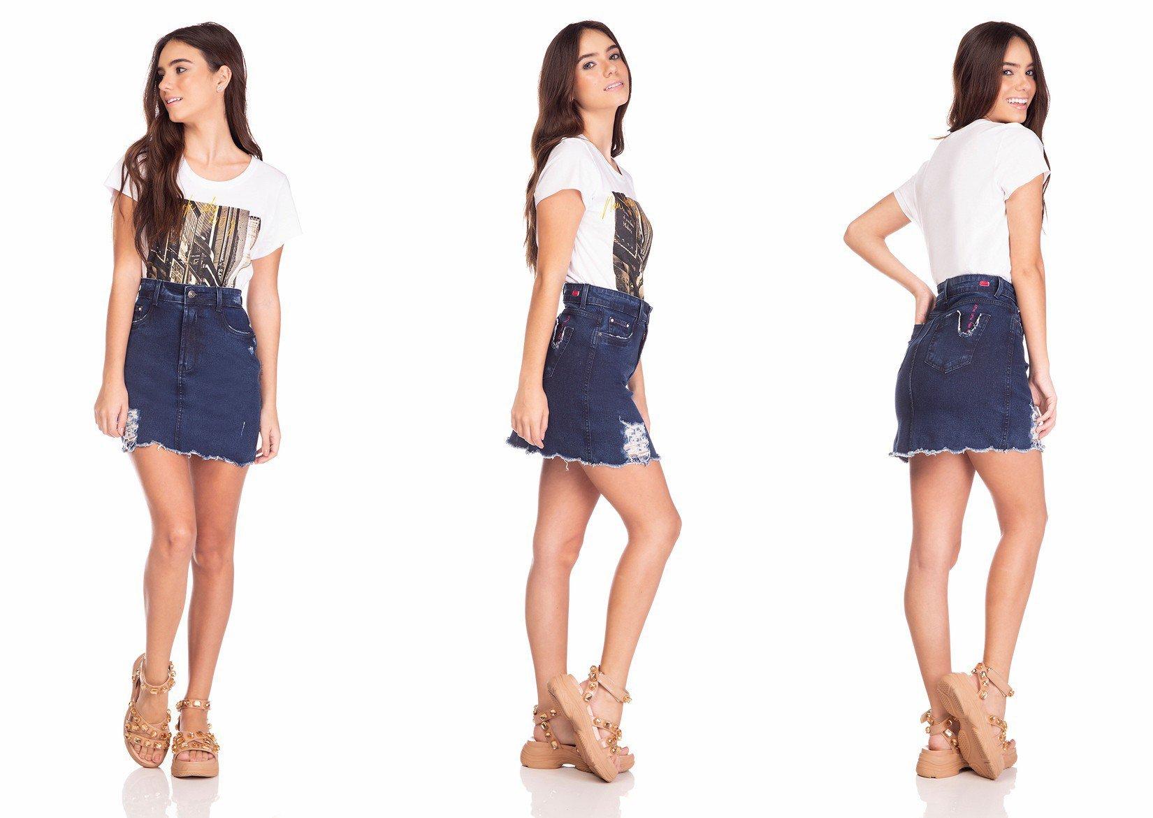 dz7129 saia jeans feminina tubinho estampa neon denim zero tripla