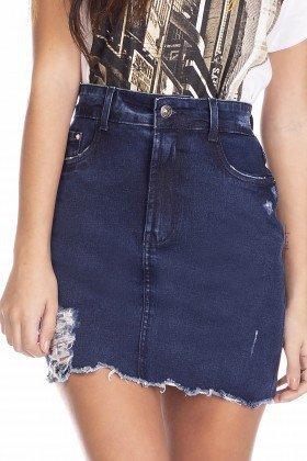 dz7129 saia jeans feminina tubinho estampa neon denim zero frente detalhe