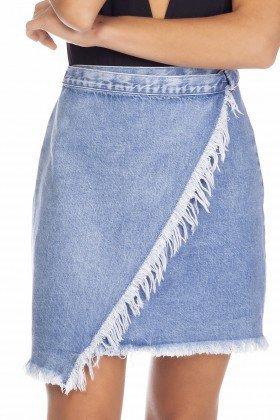 dz7127 saia jeans feminina envolope com regulagem denim zero frente detalhe