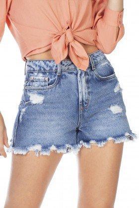 dz6347 shorts jeans feminino mom barra irregular denim zero frente detalhe