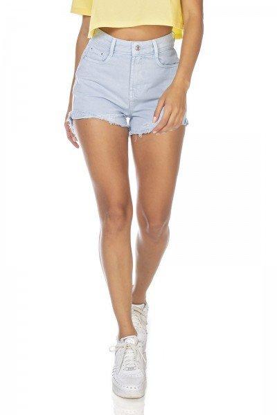 dz6373 shorts jeans feminino setentinha barra desfiada azul sereno denim zero frente prox
