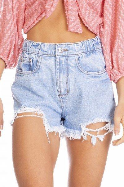 dz6355 shorts jeans feminino setentinha barra destroyed denim zero frente detalhe