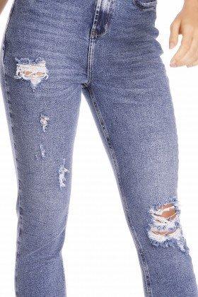 dz3232 calca jeans feminina mom fit vintage com puidos denim zero frente detalhe