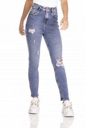 dz3232 calca jeans feminina mom fit vintage com puidos denim zero frente prox