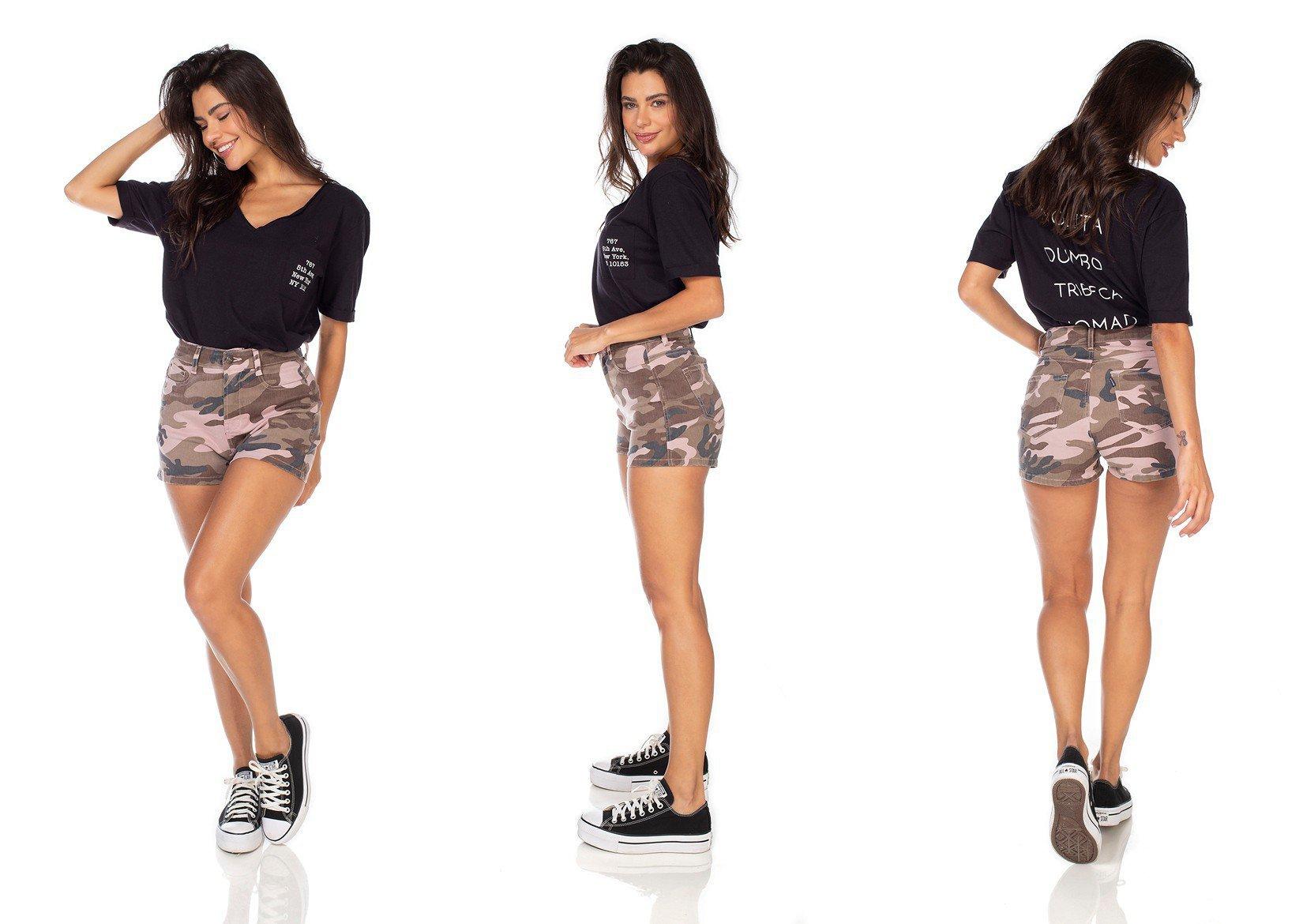 dz6354 shorts jeans feminino camuflado mist denim zero tripla