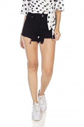 dz6374 shorts jeans feminino setentinha barra destroyed black and white preto denim zero frente prox