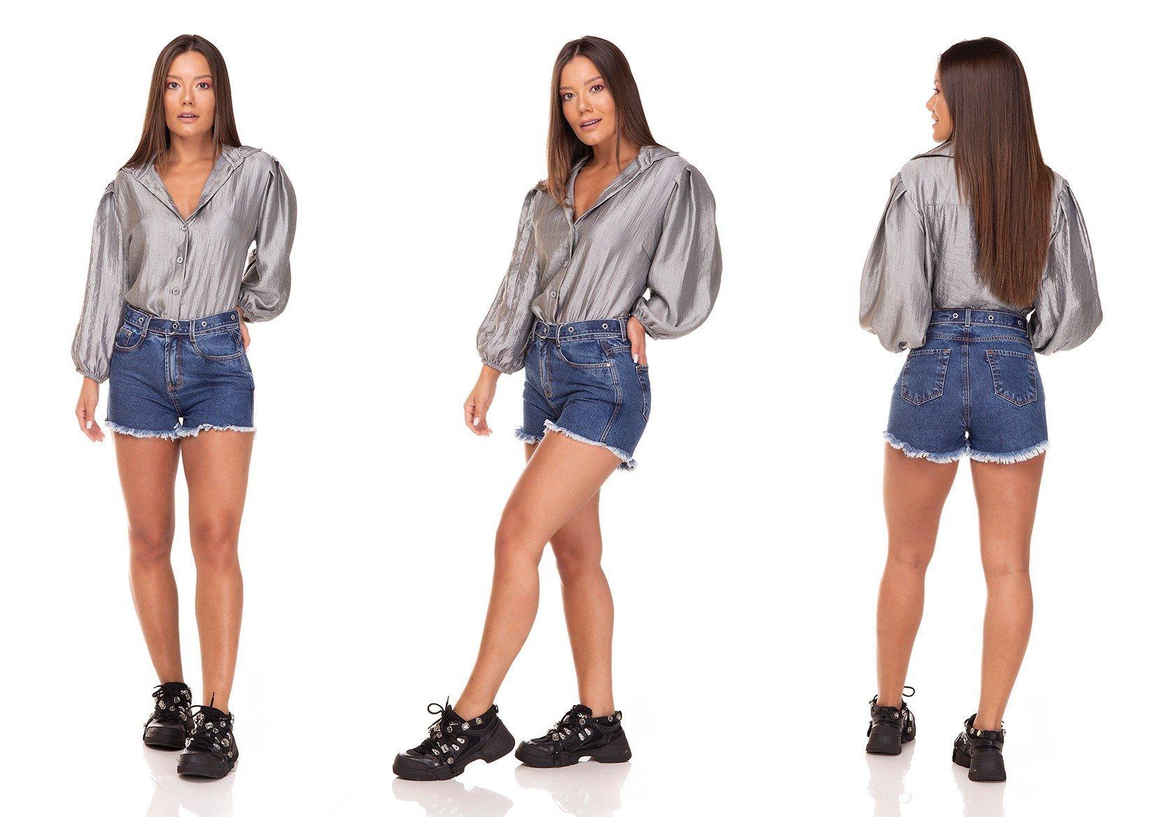 dz6388 shorts jeans setentinha com cinto denim zero tripla