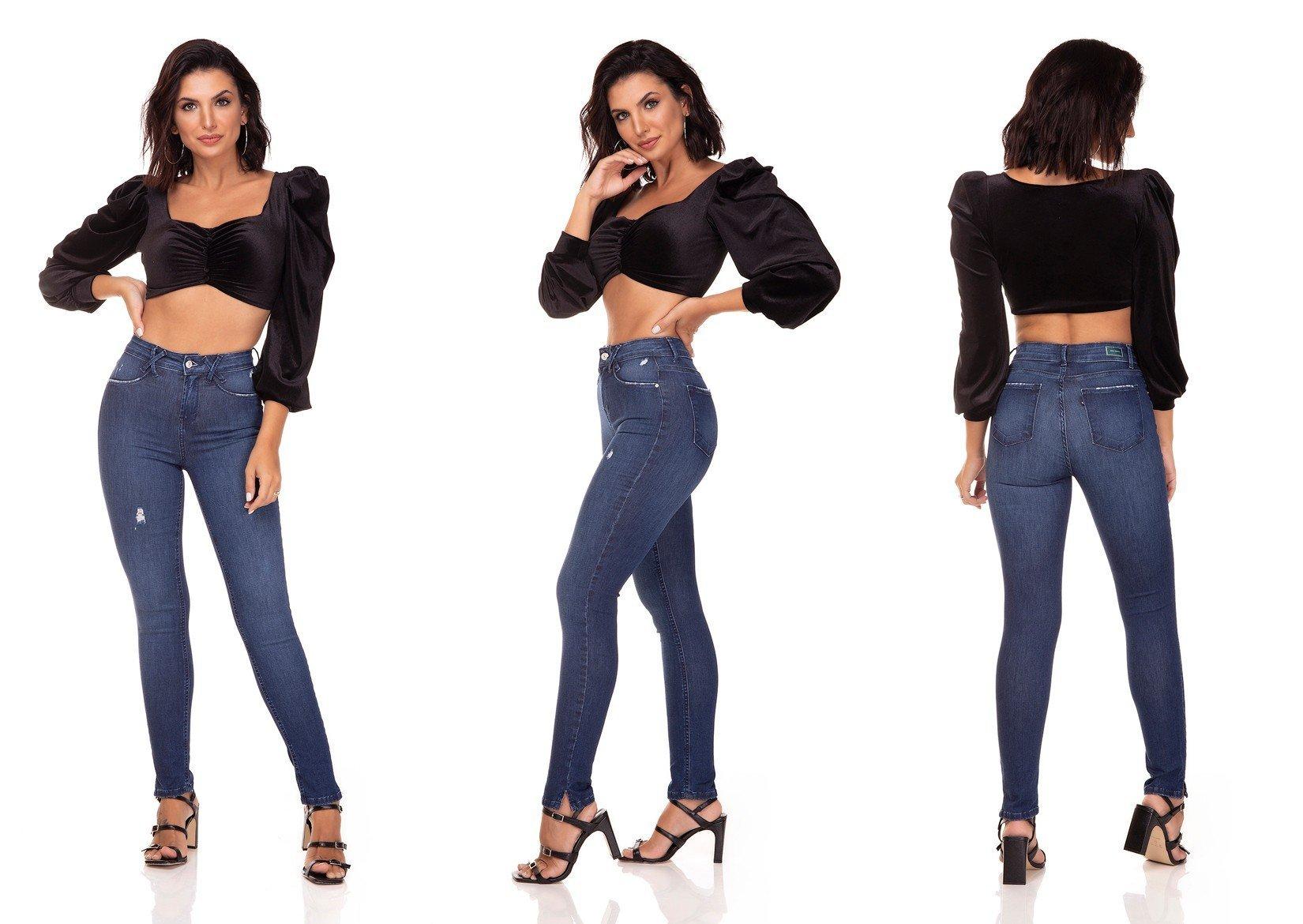 dz3284 calca jeans skinny media cigarrete fenda na barra denim zero tripla