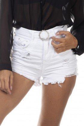 dz6387 shorts jeans feminino setentinha black and white cinto com strass branco denim zero frente detalhe