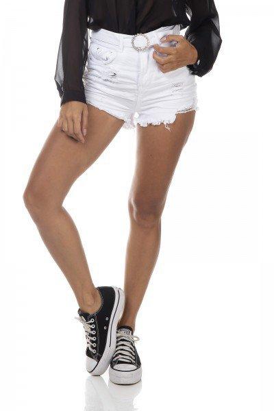 dz6387 shorts jeans feminino setentinha black and white cinto com strass branco denim zero frente prox