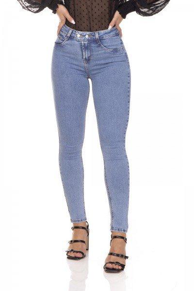 dz3285 calca jeans feminina skinny media cigarrete com botoes denim zero frente prox