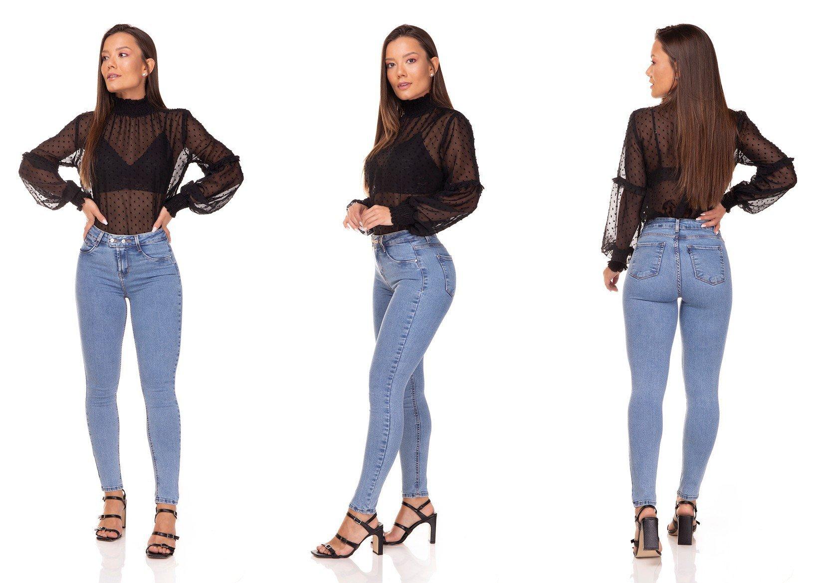 dz3285 calca jeans feminina skinny media cigarrete com botoes denim zero tripla