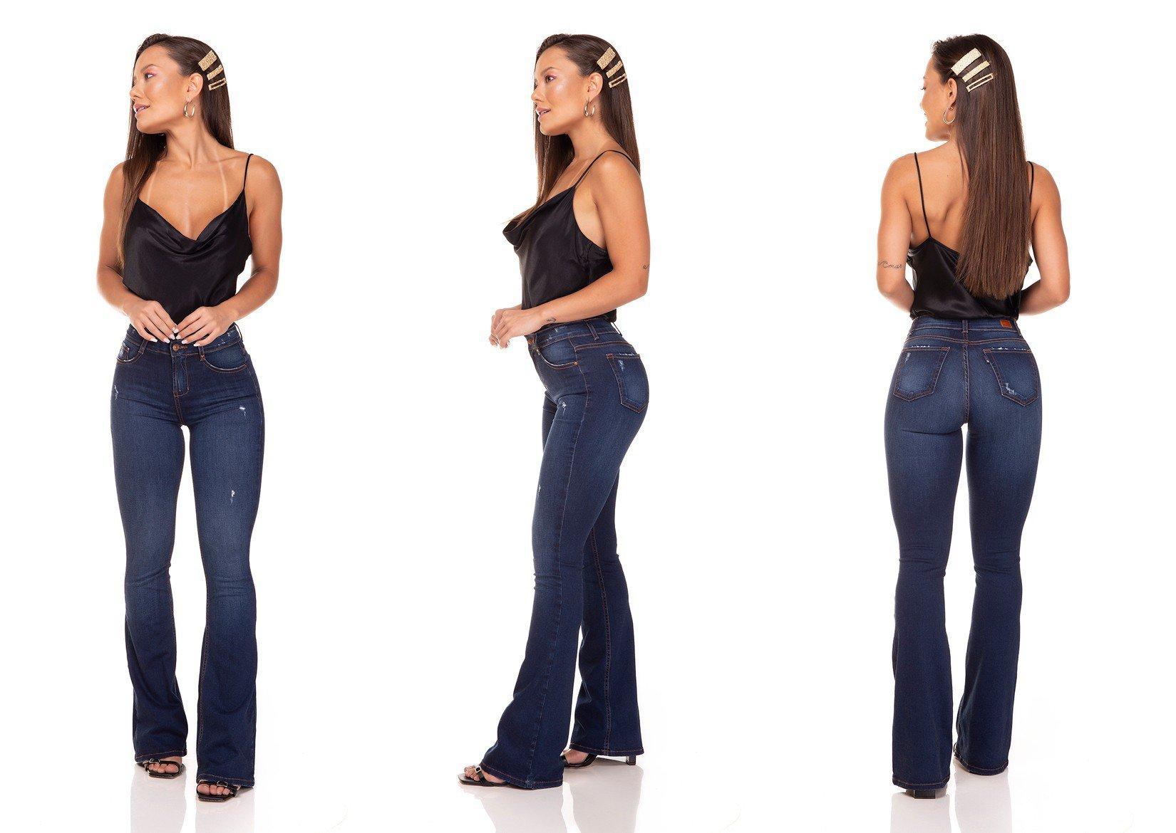 dz3294 calca jeans flare media com puidos denim zero tripla