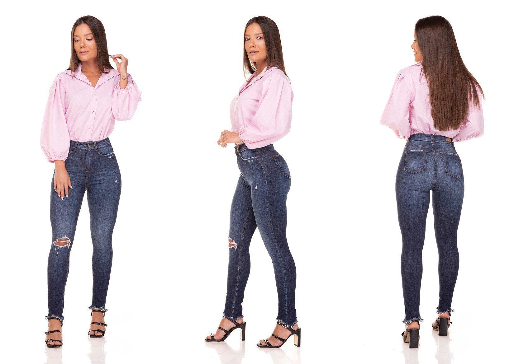 dz3293 calca jeans skinny cigarrete hot pants barra irregular denim zero tripla
