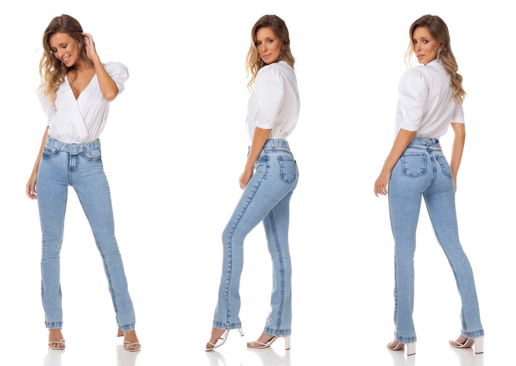 dz3288 calca jeans feminina boot cut com cinto denim zero tripla