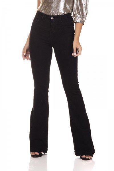 dz3307 calca jeans flare media black and white preto denim zero frente prox