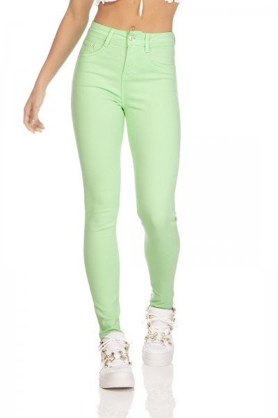 dz3125 calca jeans feminina skinny media cigarrete colorida neo mint denim zero frente prox