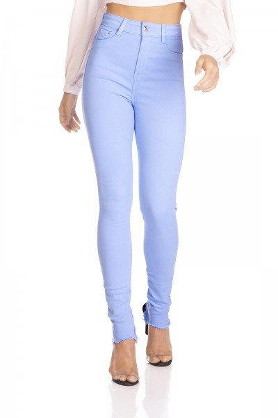 dz3127 calca jeans feminina hot pants barra desfiada colorida sky denim zero frente prox