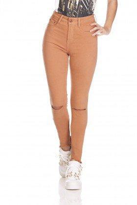 dz3123 calca jeans feminina skinny media cortes no joelho bronze denim zero frente prox