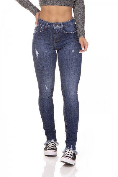 dz3217 calca jeans feminina skinny media barra desfiada denim zero frente prox