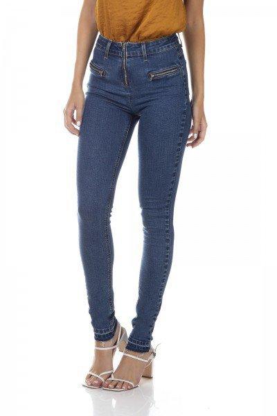 dz3344 calca jeans feminina skinny media fechamento com ziper denim zero frente prox