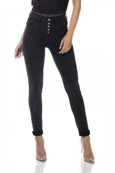 dz3340 calca jeans feminina skinny media com botoes denim zero frente prox