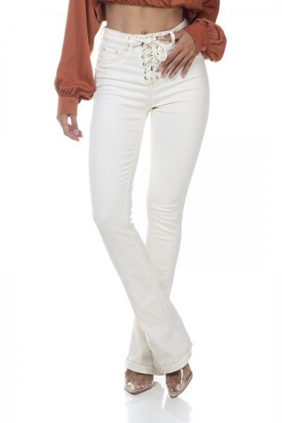 dz3323 calca jeans feminina new boot cut fechamento com ilhoses off white denim zero frente prox